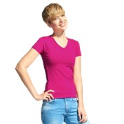 Женская футболка-стрейч с V-воротом StanVictoryWomen 07W Маджента S/44 фото