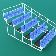 Трибуна спортивная 5-ярусная (25 мест) с пластиковыми сиденьями и с перилами по торцам ТЗПП-5-25 фото