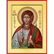 Храм Покрова Богородицы Виталий Римлянин, святой мученик, икона на сусальном золоте (дерево 2 см с ковчегом) Высота иконы 10 см фото