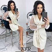 Платье женское с запахом (4 цвета) ЕФ/-492 - Молочный фото