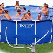 Бассейн каркасный INTEX METAL FRAME 457х91 (с картриджным фильтром, лестницей, тентом, подстилкой) фото