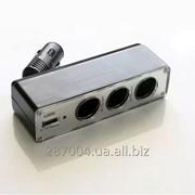 Автомобильный разветвитель тройник WF- 0096 + USB фото