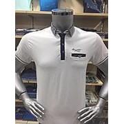 Однотонная мужская футболка поло белого цвета Турция. фото