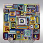 Стеклянная тарелка Геометрия фото