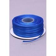 Лента атлас 3 мм, синий (рул 91,4 м) фото