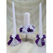 Семейный очаг, набор из 3-х свечей, фиолетовый фото