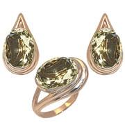 Гарнитур «Болеро» Артикул: 11085, кольцо 9,50 гр + серьги 13,00 гр, желтое золото 585 пробы с драгоценными, полудрагоценными камнями прозрачные камни крупные -цитрин фото