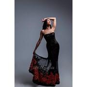 Вечернее платье Olik&Kate, черное с красными розами фото