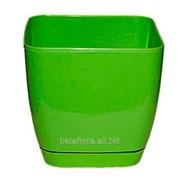 """Горшок пластиковый """"Тоскана Квадрат"""" 17 салатовый 0733-007 фото"""