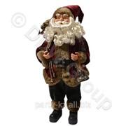 Декорация Дед Мороз в бордовом с колокольчиком 30см фото