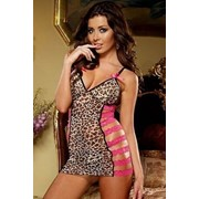 Леопардовое платьице с контрастной кружевной отделкой D-7980 фото