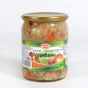 Салаты овощные консервированные с грибами