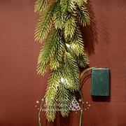"""Гирлянда хвойная """"Натуральная"""" с лампочками, на батарейке, 180*20см, ЛИТАЯ 100% (Kaemingk) фото"""