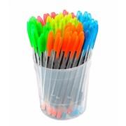 Ручка шариковая VeGa Neon, синяя, 0,7 мм, прозр. корп., (СТАММ) фото