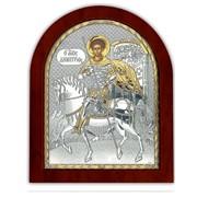Святой Дмитрий Икона серебряная с позолотой Silver Axion 260 х 310 мм на деревянной основе фото