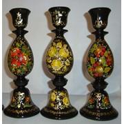 Подсвечники деревянные с декоративной росписью. фото