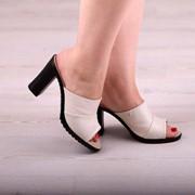 Женские кожаные сабо на устойчивом каблуке. ДС-17-0518 фото