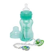 Подарочный набор зеленый с бутылочкой 240 мл с ш/г, пустышкой и клипсой фото