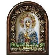 Золотошвейные мастерские, Дивеево Ангелина святая мученица, дивеевская икона ручной работы из полудрагоценных камней и бисера Высота иконы 17 см фото