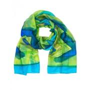 Шарф сине-зеленый натуральный шелк производство Индии фото