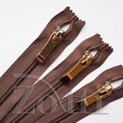 Молния пластиковая, коричневая, бегунок №73 - 35см фото