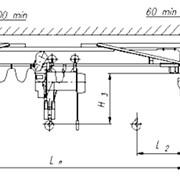Краны мостовые г/п 1; 2; 3,2; 5тн электрические однобалочные подвесные для установки в закрытых цехах и выполнения погрузочно-разгрузочных работ. фото