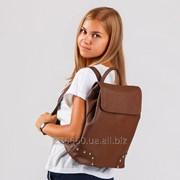 Стильный матовый рюкзак коричневый сатин фото