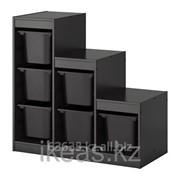 Комбинация для хранения+контейнерами, черный ТРУФАСТ фото