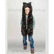 Детская волкошапка Черный Волк фото