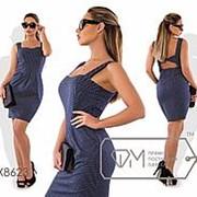 Платье романтическое в мелкий горох (3 цвета ) Синий VV/-068 фото