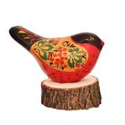 Ермиловская игрушка - Птичка с хохломской росписью фото
