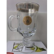 Бокалы для глинтвейна Irish кофе набор 2шт напыление платина и золото Versace фото