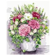 """Картина по номерам """"Яркие пионы с зелеными плодами в белой вазе"""" размер 40x50 (арт. MG2060) фото"""
