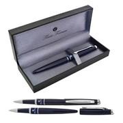 Ручка шариковая Charme, темно-синий корп., акрил.вст., хром. дет. (FLAVIO FERRUCCI) фото