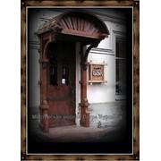 Деревянные навесы, деревянные козырьки, деревянные вывески под старину на заказ. фото