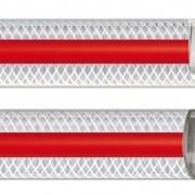 Рукав напорно-всасывающий PLUTONE PR прозрачный с выдавленной красной полосой. Температурный диапазон: -10° C + 60° C. Свойства: Пластифицированный ПВХ рукав с двойным армированием: внутри- стальная спираль, снаружи- нить из полиэстера. Гладкая внутренн фото