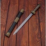 Сувенирный нож, рукоять резной металл, ножны черные и 3 вставки фото