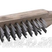 Щетка Тевтон стальная с деревянной рукояткой, 4 ряда Код: 3503-4 фото