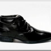 Ботинки мужские кожаные, черные с островатым носком. Модель 3070305 фото