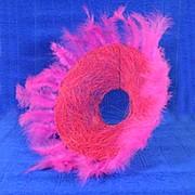 Plastiflora Каркас для букета 25см сизаль гл с перьями розовый фото