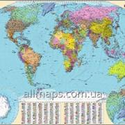 Настенная политическая карта мира 160х110 см; М1:22 000 000 - ламинированная/на планках фото