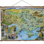 Карта сувенирная на холсте большая Украина фото