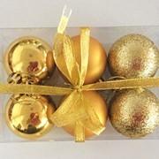 """Набор елочных шаров """"Шелк, бархат, люрекс"""", 6 шт, 6 см, золотые, (MILAND) фото"""