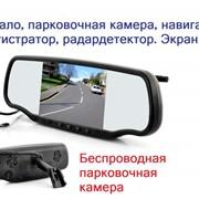 """GPS, радар детектор, парковка, 5"""" экран, Bluetooth в зеркале. Зеркало заднего вида. Зеркало заднего обзора. Медиаплеер в зеркале. GPS автомобильные фото"""