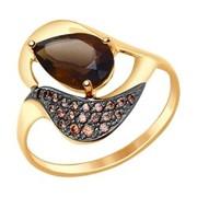 Кольцо из золота с раухтопазом и коричневыми фианитами (714667) фото