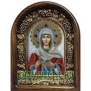 Золотошвейные мастерские, Дивеево Татиана (Татьяна), святая мученица, дивеевская икона ручной работы из полудрагоценных камней и бисера Высота иконы фото