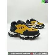 Кроссовки Prada Adidas Прада Адидас черные с желтым фото