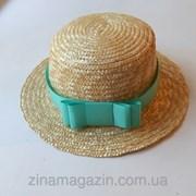 Шляпа канотье с мятной лентой фото