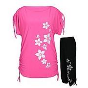 Летний костюм Цветы - туника-затяжки + капри-затяжки фото