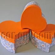 Набор серо-оранжевых коробок-сердец из 3 шт 570457 фото